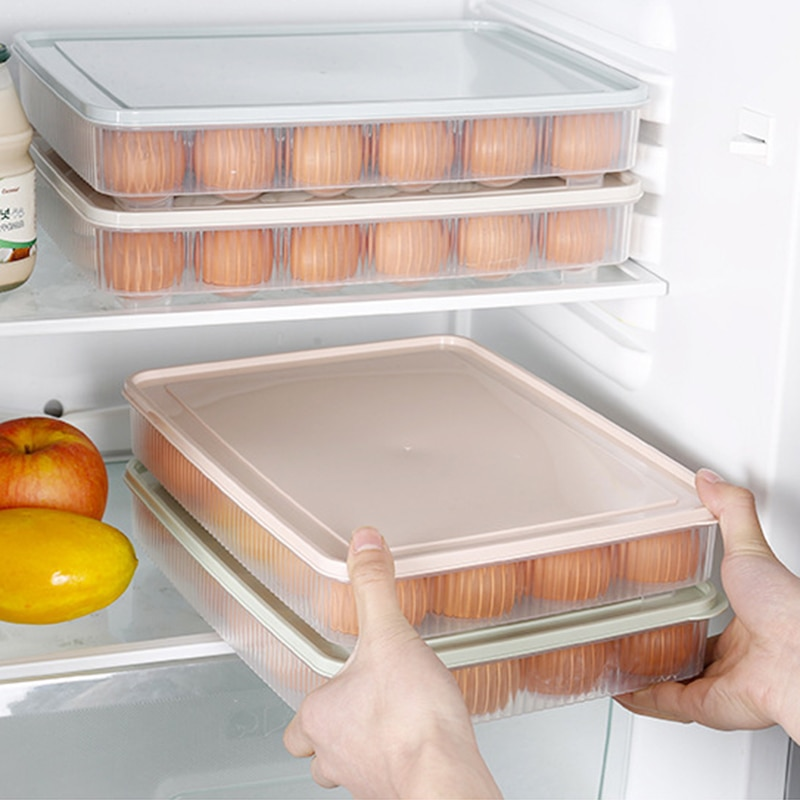 Bandeja de plástico antirollo para huevos de 24 orificios, contenedor de almacenamiento, caja organizadora para mantenimiento fresco de alimentos y nevera con tapa sellada, caja apilable