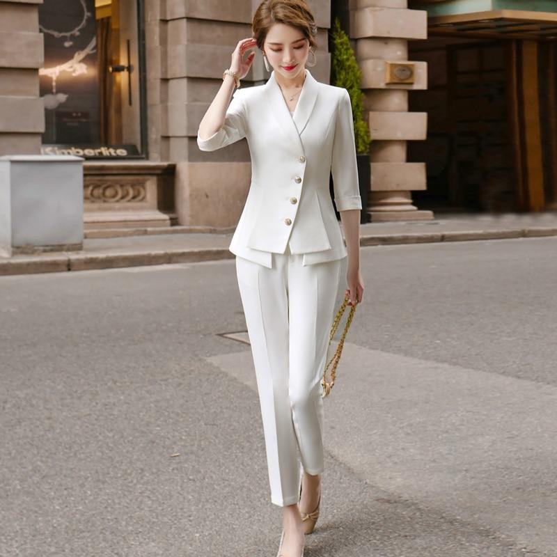 High Quality Casual Women's Suit Pants Two Piece Set 2020 new summer elegant ladies white blazer jacket business attire