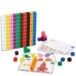 Cubos de contagem geométricos para bebês, cubos gráficos de matemática em 10 cores, blocos de empilhar, kit de construção de cubo, brinquedo para educação infantil