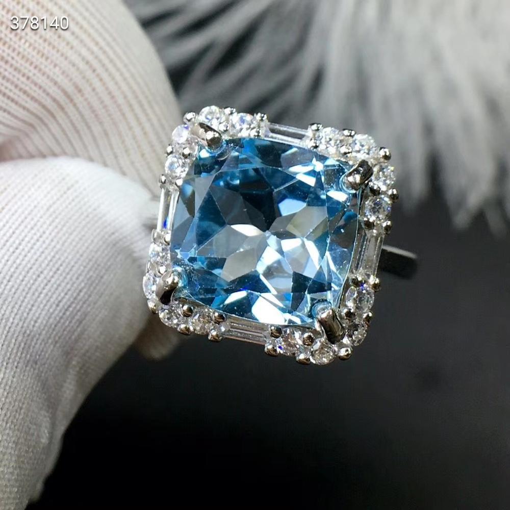 Сертификат натуральный голубой топаз драгоценный камень для женщин и мужчин ограненное регулируемое кольцо кубик прозрачный бисер 10x10 мм Ц...