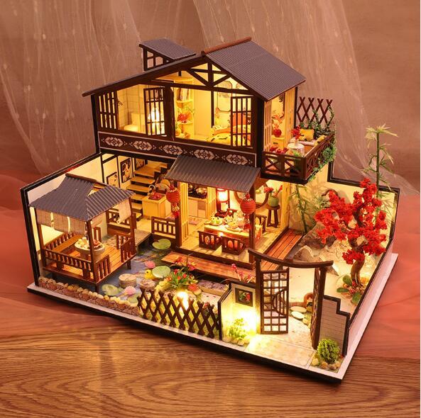 P002 duży rozmiar DIY domek dla lalek drewniany domek dla lalek miniaturowe mebelki do domku dla lalek zestaw Casa zabawki dla prezent urodzinowy dla dzieci