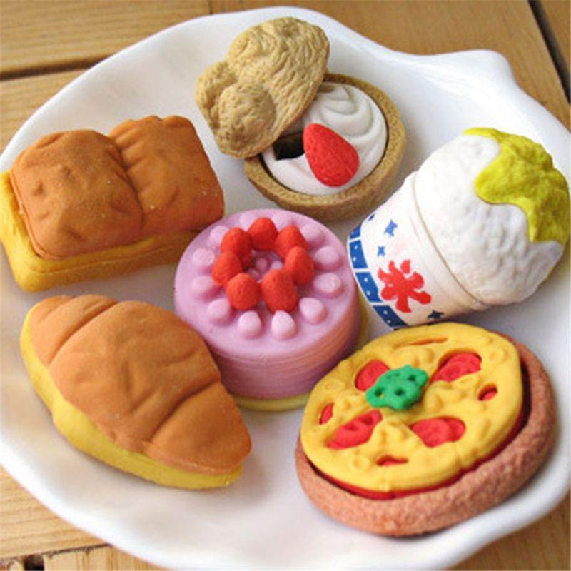 ¡Venta al por mayor! Lindo Kawaii pastel hamburguesa comida borrador conjunto papelería escuela Oficina suministros para borrar fruta niños regalo