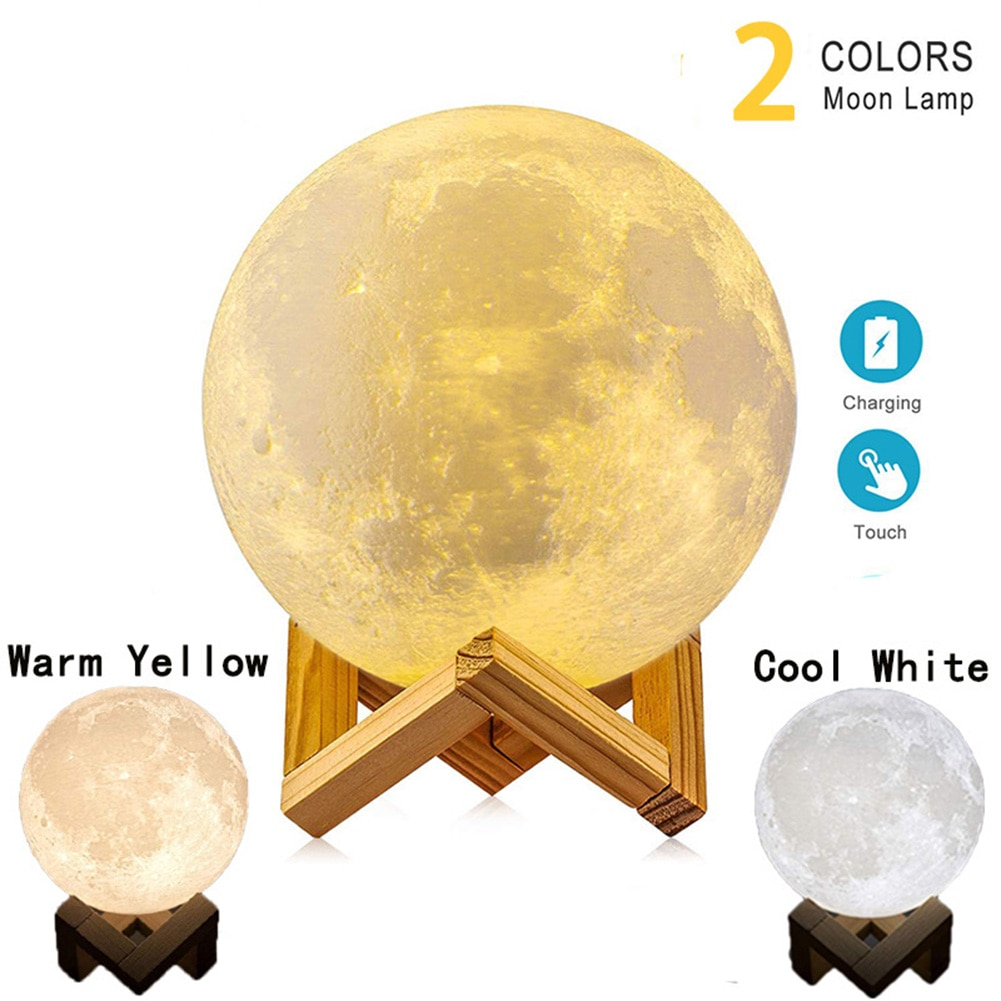 3D Print Galaxy Moon Lamp Night Light USB Rechargeable Creative Home Decor Touch Star Moon Lamp Bedroom Lover Children Gift