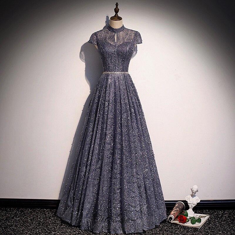 فستان إشبينة العروس ، أنيق ، أزرق ، رمادي ، أكمام ، ياقة عالية ، خط لامع ، بدون أسود ، لحفلات الزفاف ، والحفلات الراقصة ، 2021