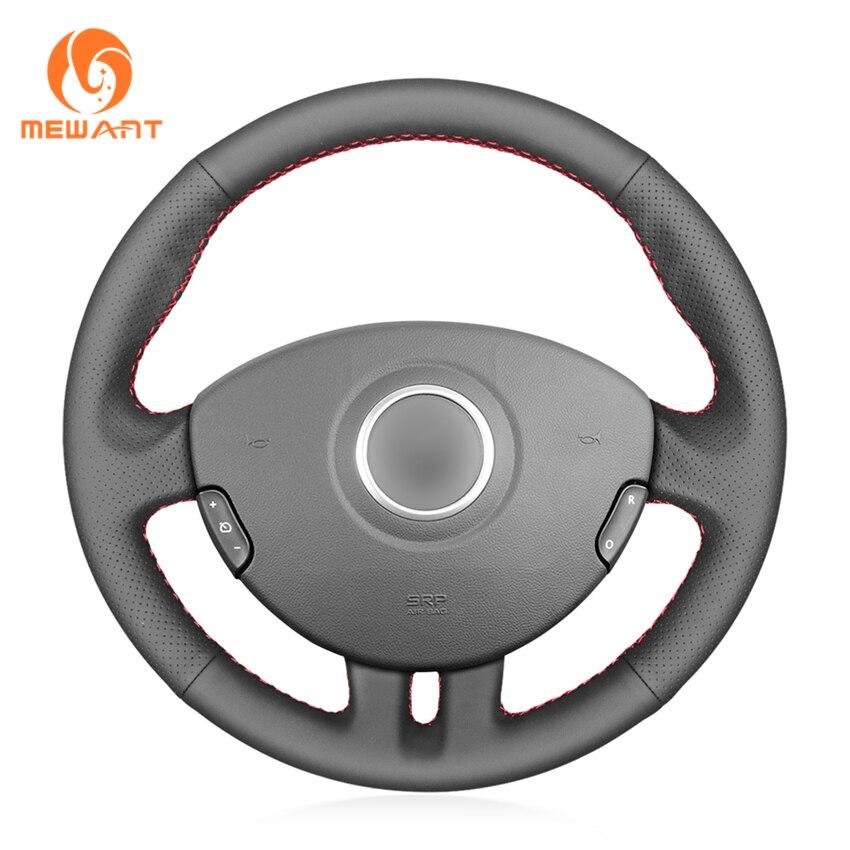 Protector MEWANT de cuero negro genuino para volante de coche para Renault Clio 3 2005 2006 2007 2008 2009 2010 2011 2012 2013