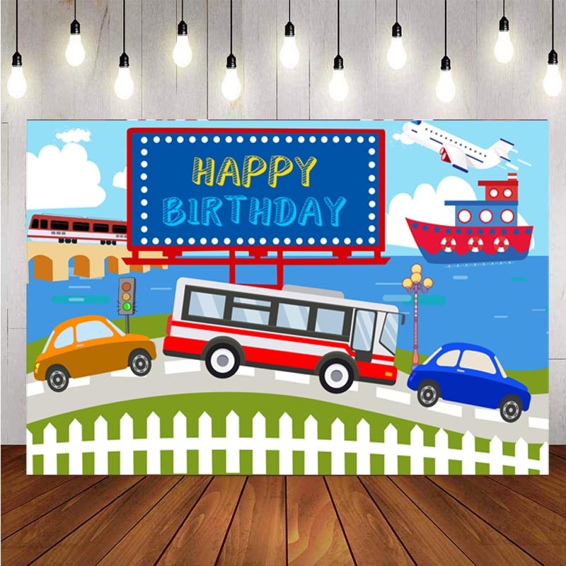 Transportation Backdrop Planes Car Steamship Boy 1st Birthday Party Blue Sky White Cloud Photography Background Photo Booth