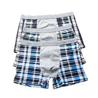 high quality brand mens boxer shorts cotton classic plaid mid rise male underpants breathable comfortable mens underwear cuecas