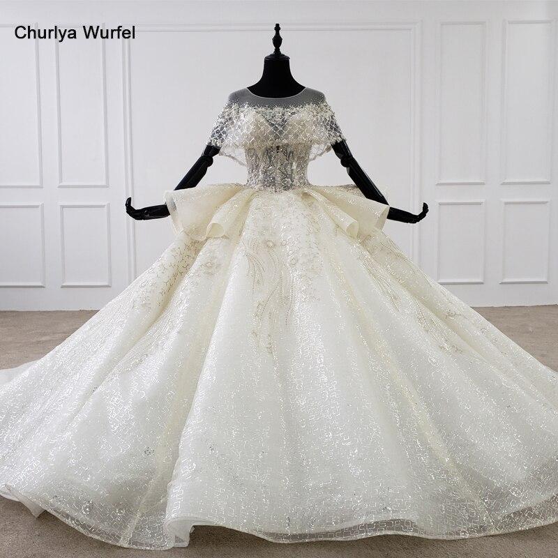 HTL1251 Peplum vestido de novia Vintage capa O cuello apliques vestido novia lentejuelas vestido de diamantes de imitación de encaje bola vestido فستان عروس