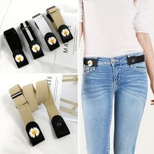 Fashion elastic easy belt without buckle ladies jeans belts for women stretch flower cinturon mujer