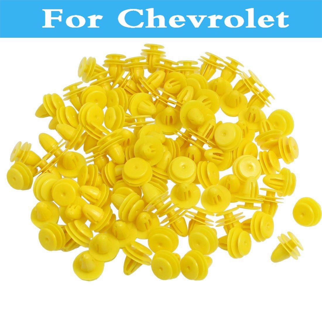 50 Uds remaches de parachoques del coche guardabarros clips de panel de corte amarillo para Chevrolet Spark Lanos Malibú Niva navegar Sonic Metro Monte Carlo Mw
