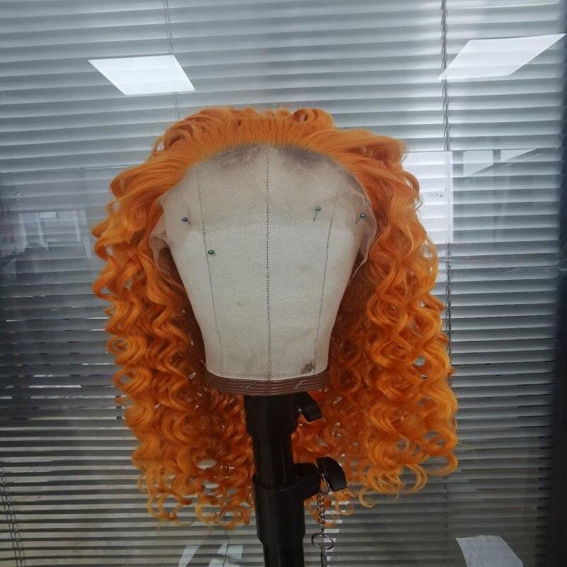 برتقالي 180% الكثافة 26 بوصة طويل غريب مجعد الاصطناعية الدانتيل شعر مستعار أمامي للنساء السود مع شعر الطفل يوميا غلويليس