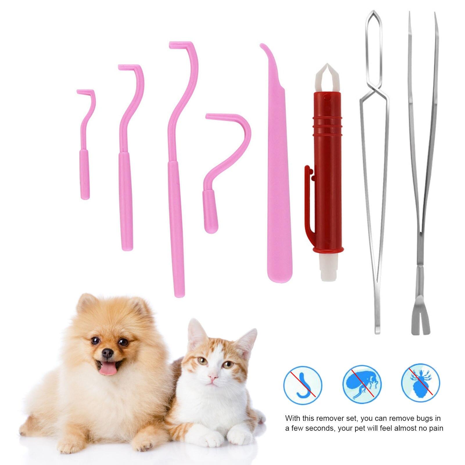 Набор для удаления клещей для собак, домашних животных, кошек, инструмент для очистки, набор зажимов для клещей
