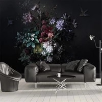 milofi custom non woven wallpaper mural nordic simple hand painted lily flower black bedroom background wall painting