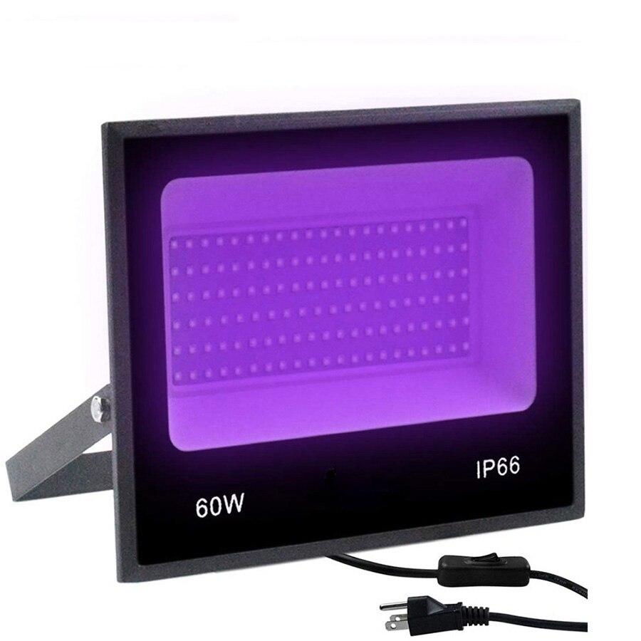 الأشعة فوق البنفسجية الصمام الكاشف 30W 60W الترا فيوليت LED ضوء أسود مع على/قبالة التبديل AC85-265V IP66 للماء DJ ديسكو حزب ضوء المرحلة