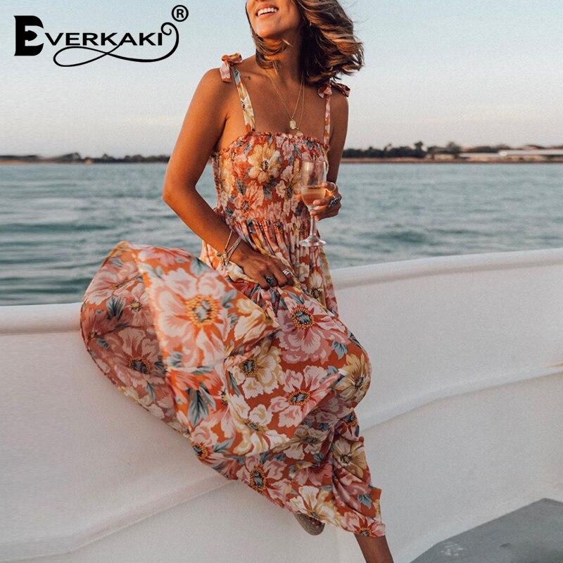 Everoem vestido feminino longo com estampa floral, boho, vestido para moças, slip maxi, casual, para primavera e verão 2020