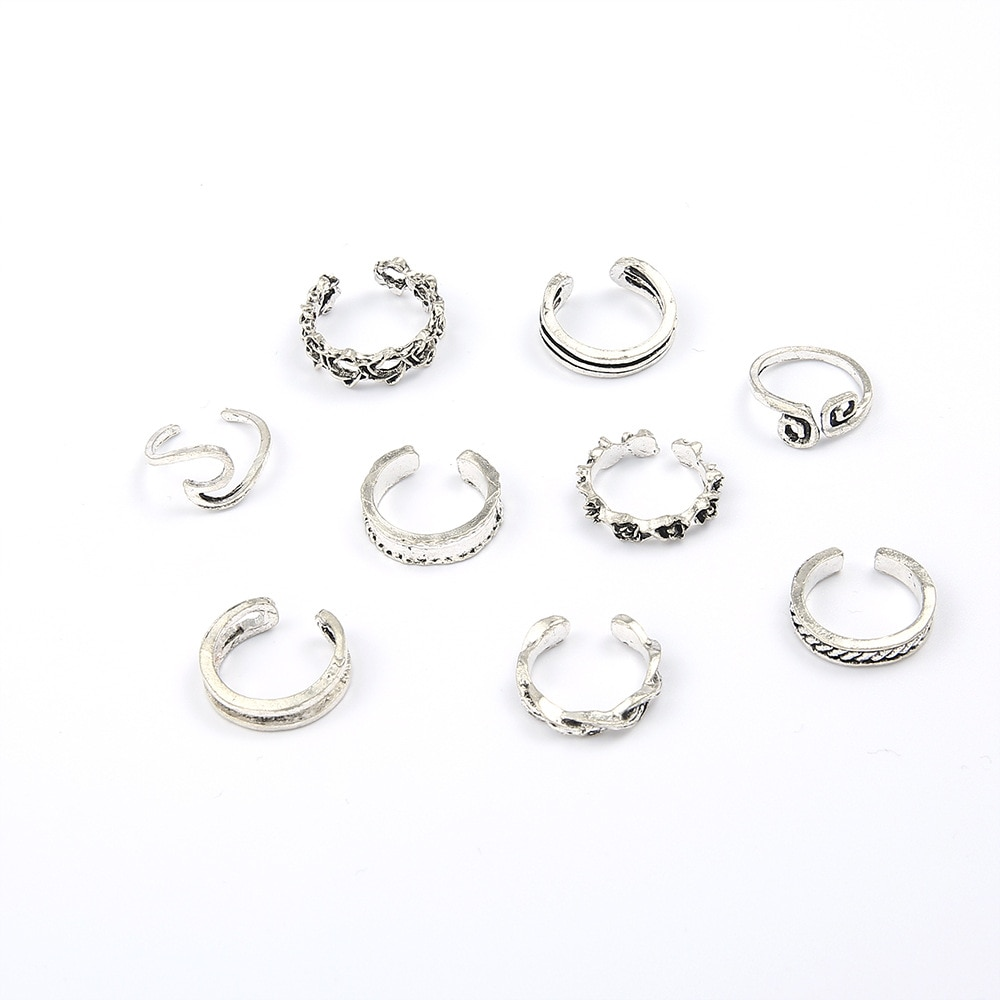 2021 Women's High Quality Fashion Unique Ring Totem Pattern Open Ring Toe Ring Foot Beach Foot 9PCS/Set Gold Silver Ring Jewelry