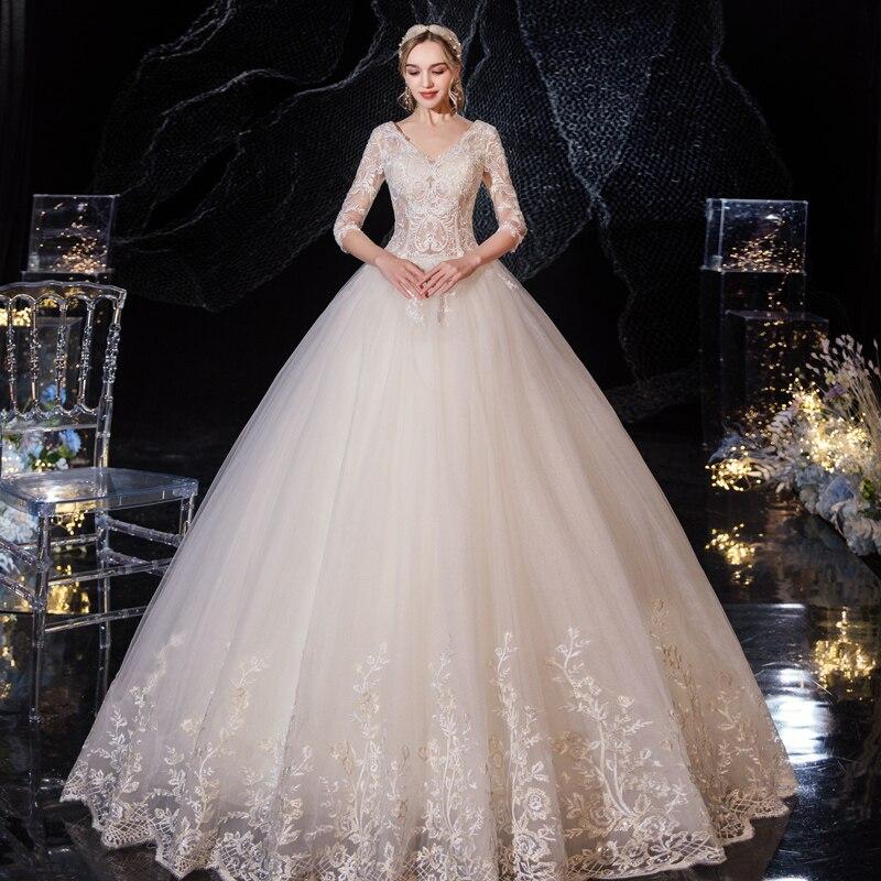 Bordado com decote em v vestido de casamento 2020 novo estilo de luxo noiva rendas acima vestidos de casamento tamanhos grandes vestidos de baile champanhe/branco