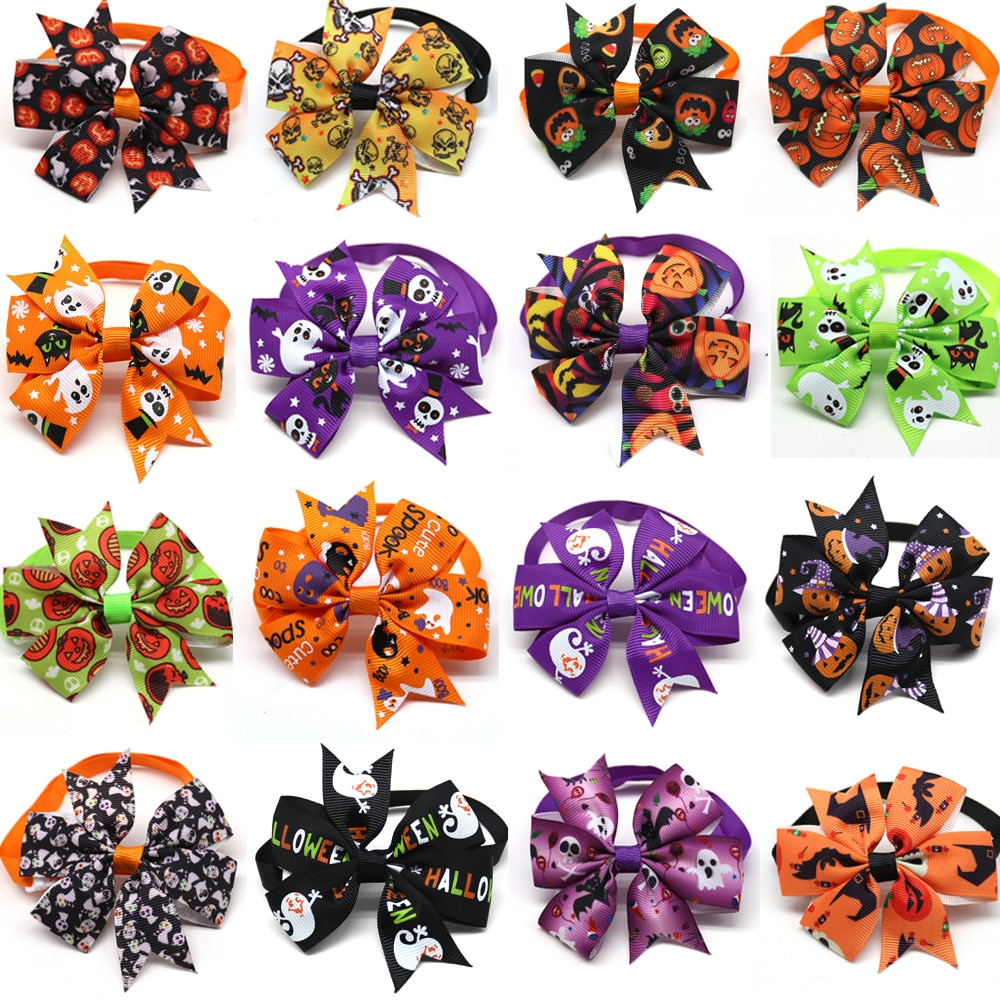 50/100pc Halloween Dog Bow Tie Skull Pet Products Dog Accessories Pet Dog Bowtie Cute bow tie dog Pe