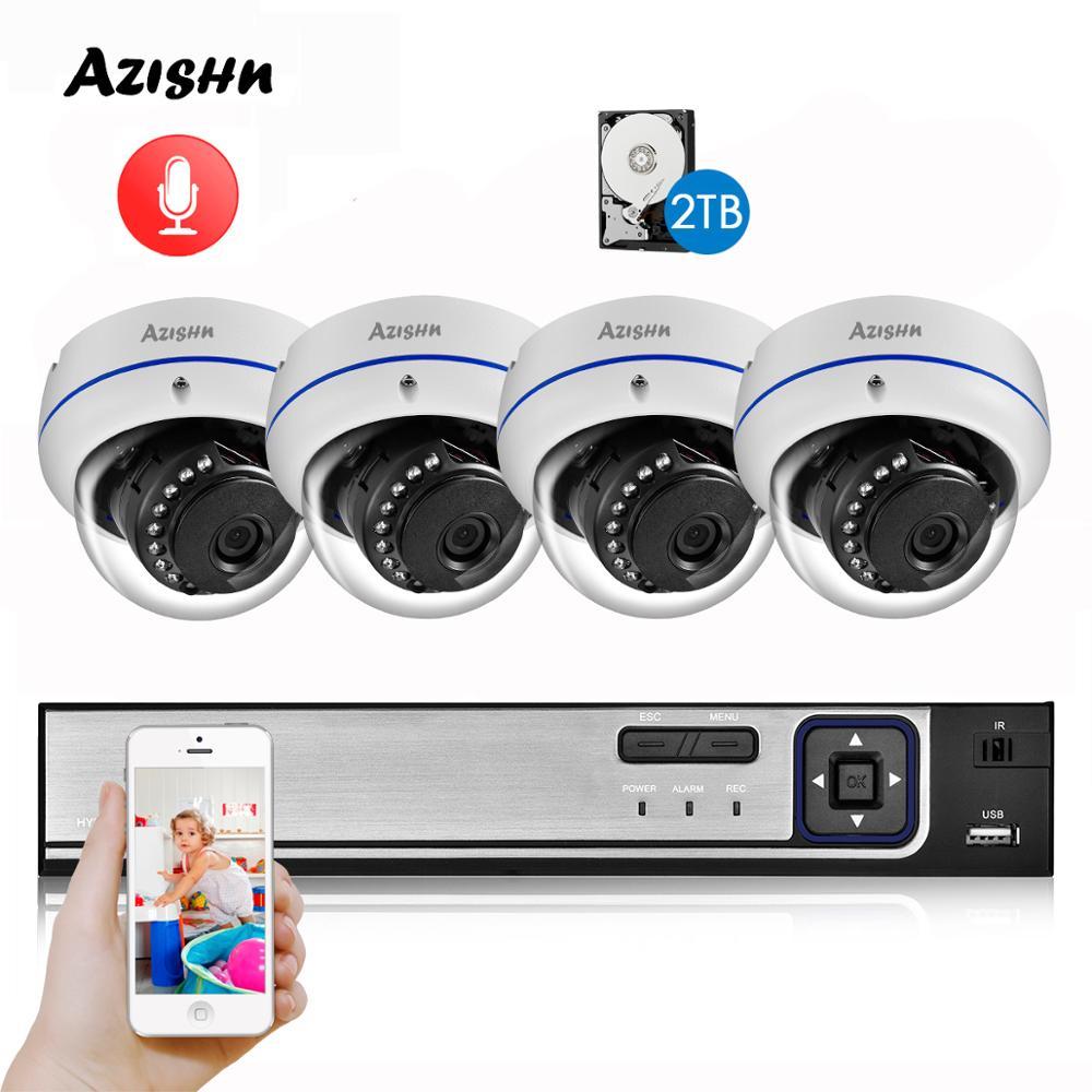 AZISHN Detección de rostro 4CH 5MP NVR CCTV Kit de seguridad sistema al aire libre impermeable Domo POE IP cámara Video vigilancia Set 4TB
