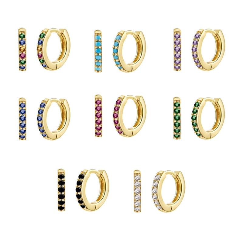 AliExpress - ROMAD 925 Sterling Silver Small Hoop Earrings For Women Rainbow Zircon Turquoise Blue Circle Earrings Jewelry Pendientes Plata