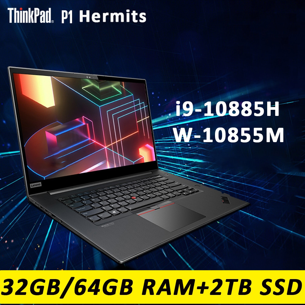 Get Lenovo ThinkPad P1 Hermit laptop Win10 Professional  i9/Xeon W-10855M 32G 64G RAM 2TB SSD 4K OLED Backlit WiFi6 Ultraslim Touch