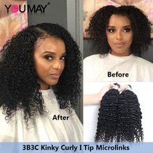 I Tip Hair Extensions For Black Women Mongolian Afro Kinky Curly Microlinks Human Hair Bundles Weave