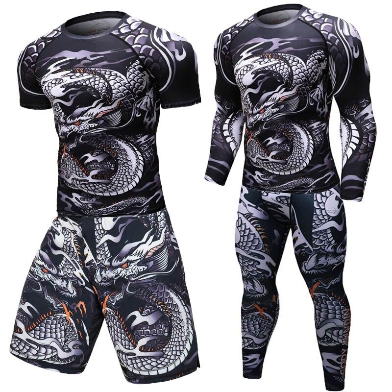 MMA lycra Jiu Jitsu T camisas para hombres, camisetas de BJJ kickboxing, muay thai pantalones cortos pantalones de manga larga 3D imprimir Sportsuit