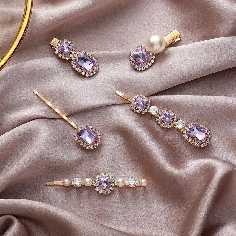 ¡Moda 2020! Pasadores de pelo con botón a presión y circonita púrpura para mujer, horquilla con perlas, pinzas para el cabello joyas, pasador de señora
