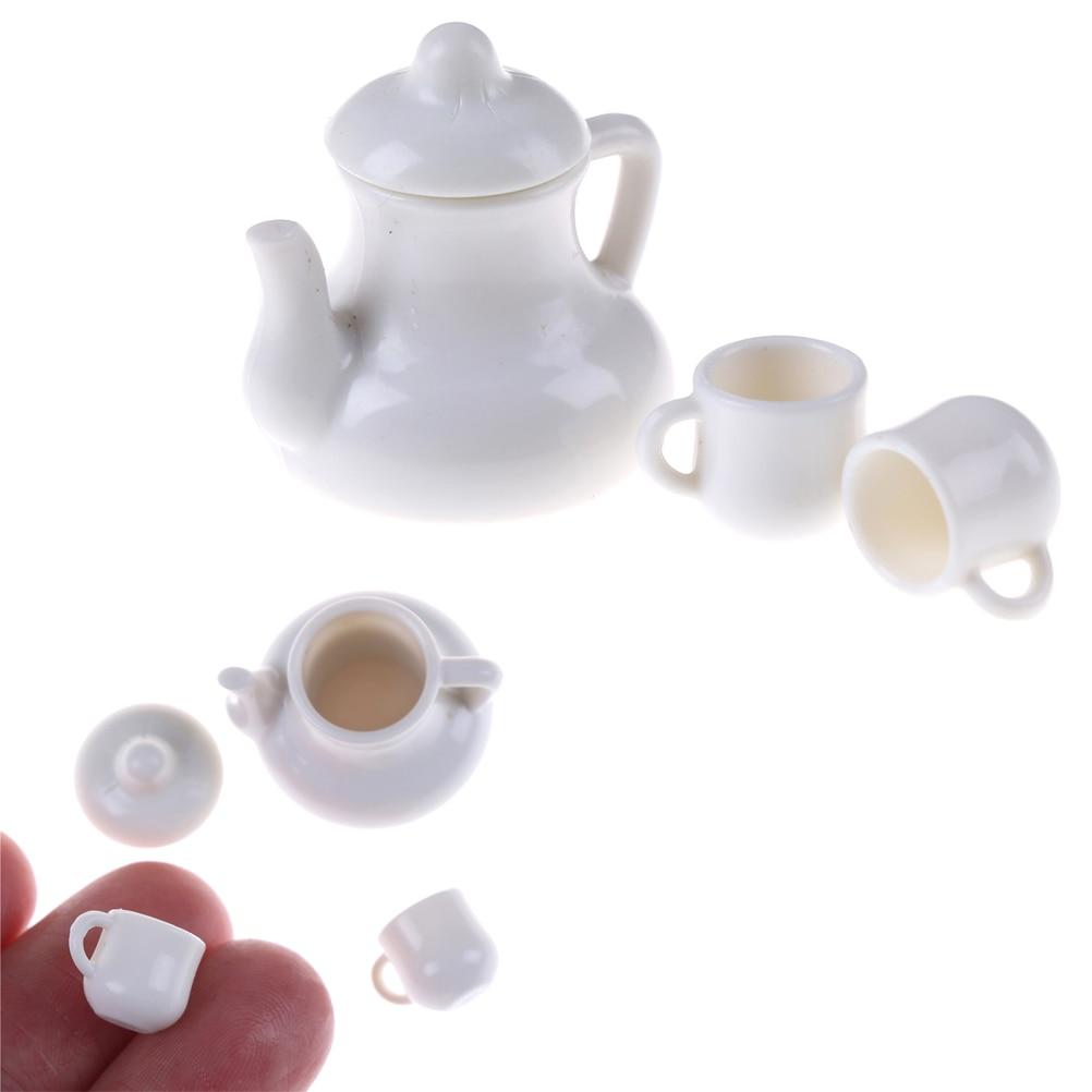 Canecas 112 bonecas casa em miniatura copos & pot conjunto direção móveis brinquedos plactic café copos de chá casa de bonecas acessório branco novo