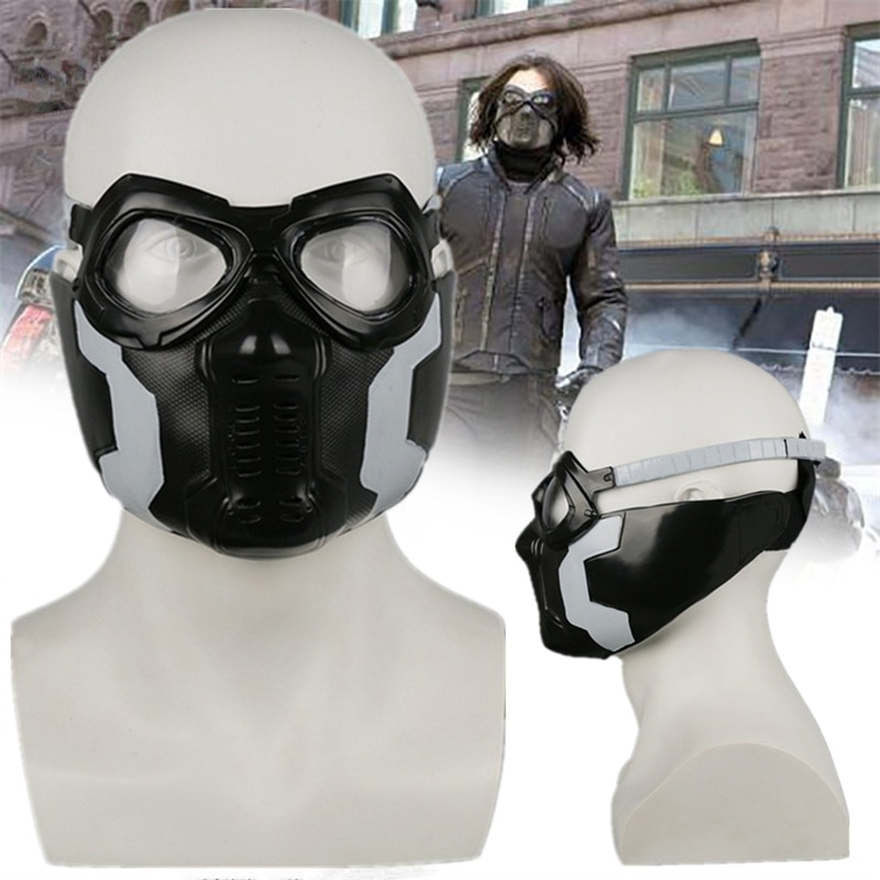 Капитан Америка Зимний Солдат Пряжка Барнс маска очки Косплей шлемы ПВХ маски реквизит Хэллоуин