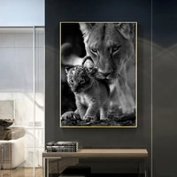 lioness and cub black and white canvas art painting posters and prints scandinavian cuadros wall art picture for home decor