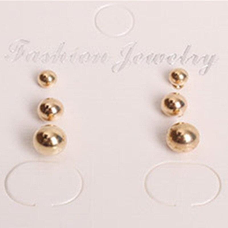 Pendientes de botón con bola de tres piezas de moda para mujer joyería de personalidad