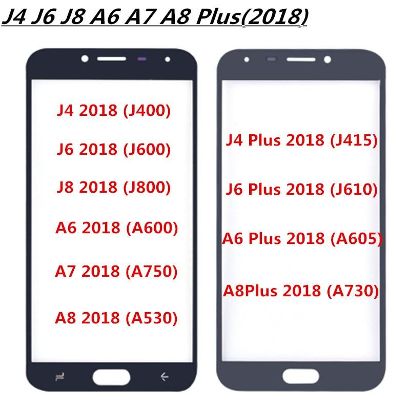 Pantalla táctil pantalla frontal vidrio Panel táctil A530 A730 para SAMSUNG Galaxy j4 j6 j8 Plus 2018 lente digitalizador A6 a7 Panel táctil A8