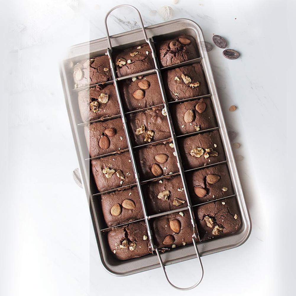 Brownie bakeware 18 cavidade bandeja de cozimento antiaderente fácil limpeza praça treliça bolo de chocolate molde ferramentas de cozimento pan