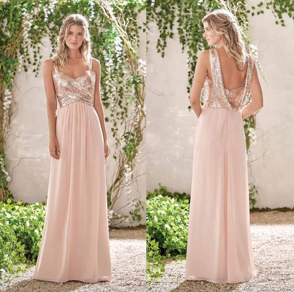 فستان إشبينة العروس من الحرير والشيفون الوردي مع أحزمة سباغيتي ، لحفل الزفاف ، A-Line