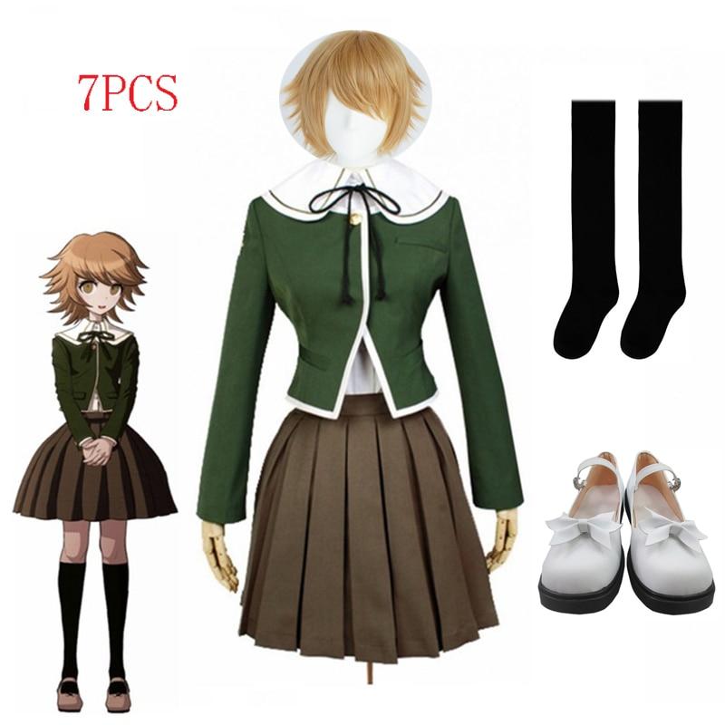 7 pièces Danganronpa Fujisaki Chihiro Cosplay filles école uniforme veste chemise robe Costume Anime Cosplay chaussures et perruque Halloween