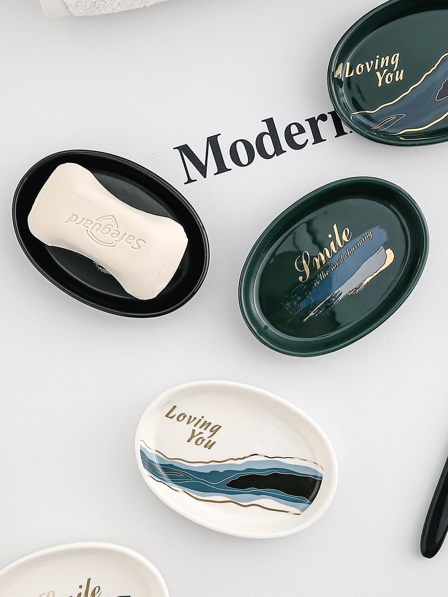 Soap Dish Ins Style Light Luxury Bathroom Hotel High-End Ceramic Creative Soap Holder Soap Dish Nordic Soap Box