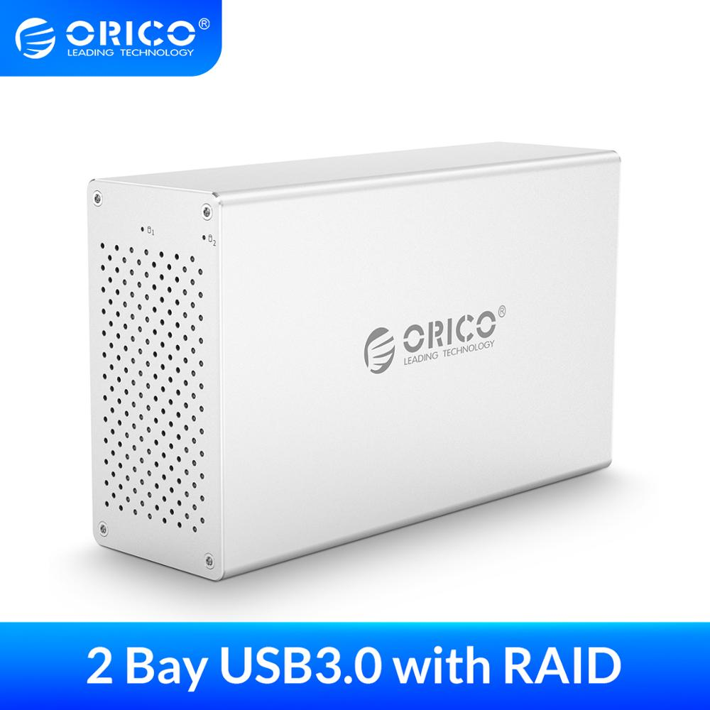 ORICO 3,5 ''2 Bay USB3.0 funda de disco duro con carcasa de aluminio Raid 5Gbp HDD 12V adaptador de corriente soporte 20TB HDD estación de acoplamiento