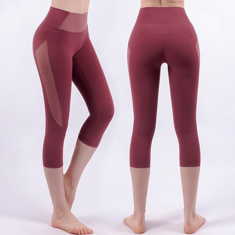 Women High Waisted Yoga Pants Cropped Trousers Seamless Leggings Exercise Tights Joggers Pant Gym Leggings Fitness Belt Pockets