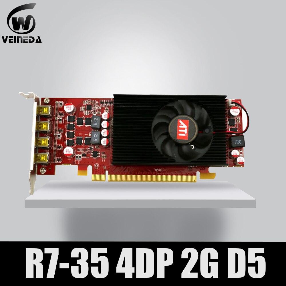 متعدد الشاشات كارت العرض R7 350 2GB GDDR5 128Bit 4DP لشاشة الكمبيوتر الشخصي الانظار دعم 4 وضع العرض