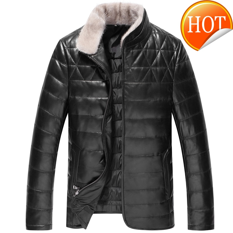 Novo genuíno 2020 jaqueta de couro para baixo casaco de pele de carneiro dos homens casaco de pele de vison colarinho masculino casaco de couro de pato branco para baixo