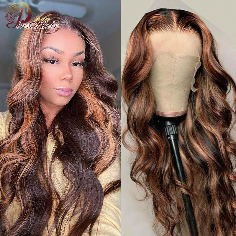 Highlight Lace Front Wig Body Wave Wigs Peruvian P4/30 Lace Front Wig For Women Human Hair Wig Pre P