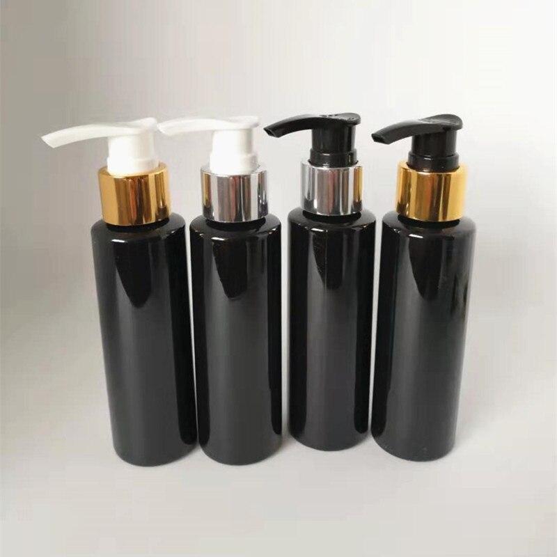24 ps/lote botella de champú de plástico negro para loción botella de plástico para mascotas de 100ml para Gel con dispensador cosmético de loción de oro y plata