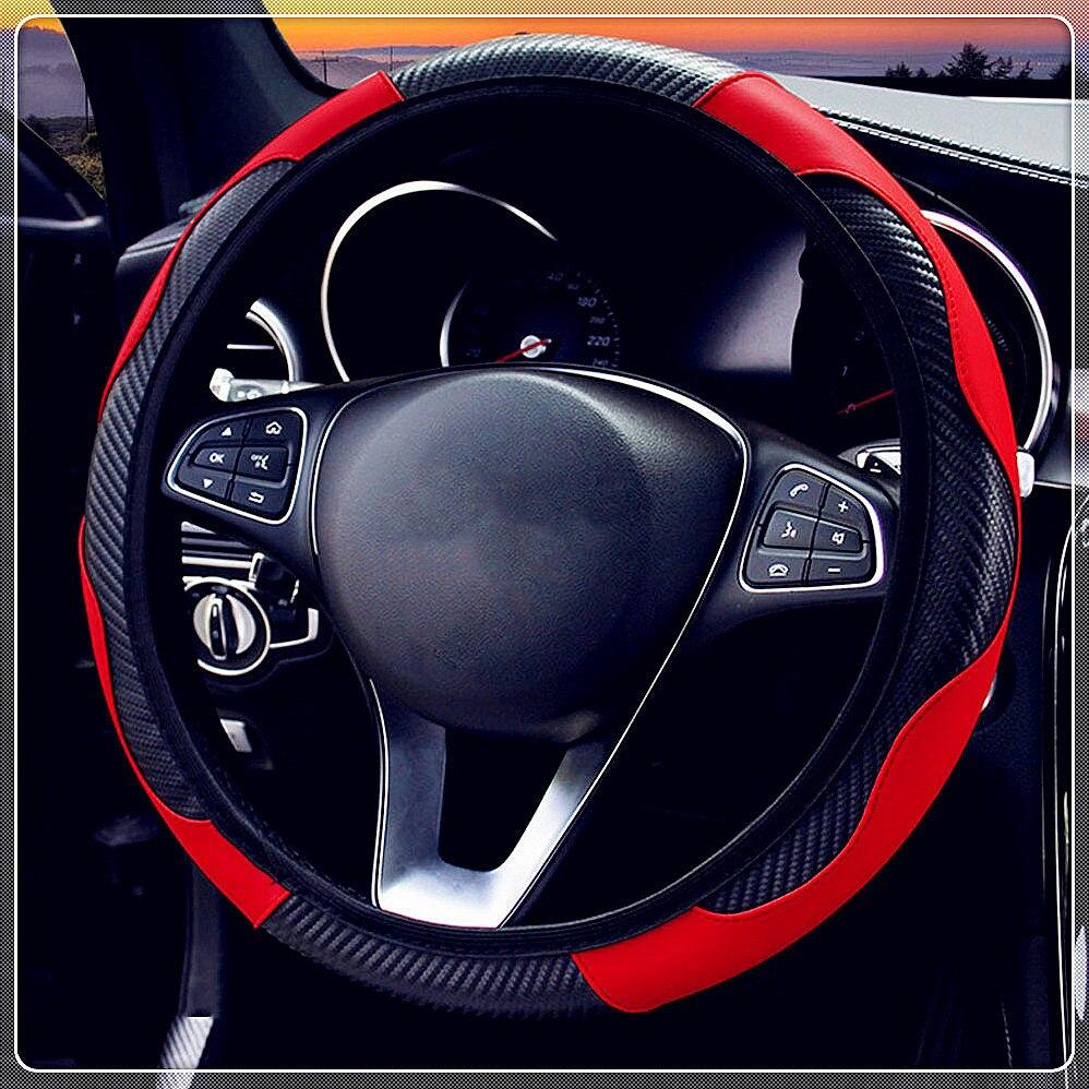 Car Steering Wheel Cover Anti Slip PU Leather Carbon Fiber for Hyundai HND3 Veloster i10 LPI 30blue R cee d ix Tucson IX35