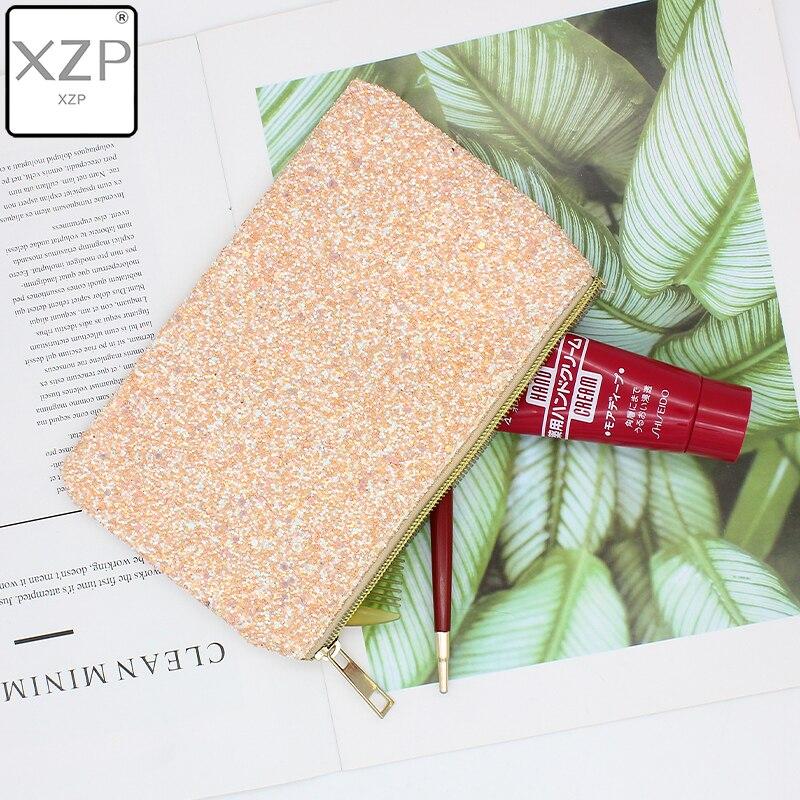 XZP de moda de las mujeres bolsos lentejuela sirena maquillaje bolsa Reversible de doble Color bolso para cosméticos con purpurina perezoso de la cremallera de maquillaje