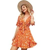 donsignet 2021 summer new sweet v neck bow floral short sleeve print ruffles dresses for women