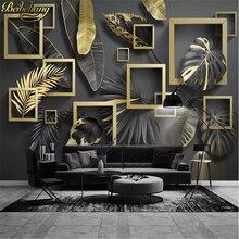 Papel de pared de fondo de lujo geométrico tropical hojas doradas minimalista nórdico moderno papel mural de Foto personalizada de beibehang