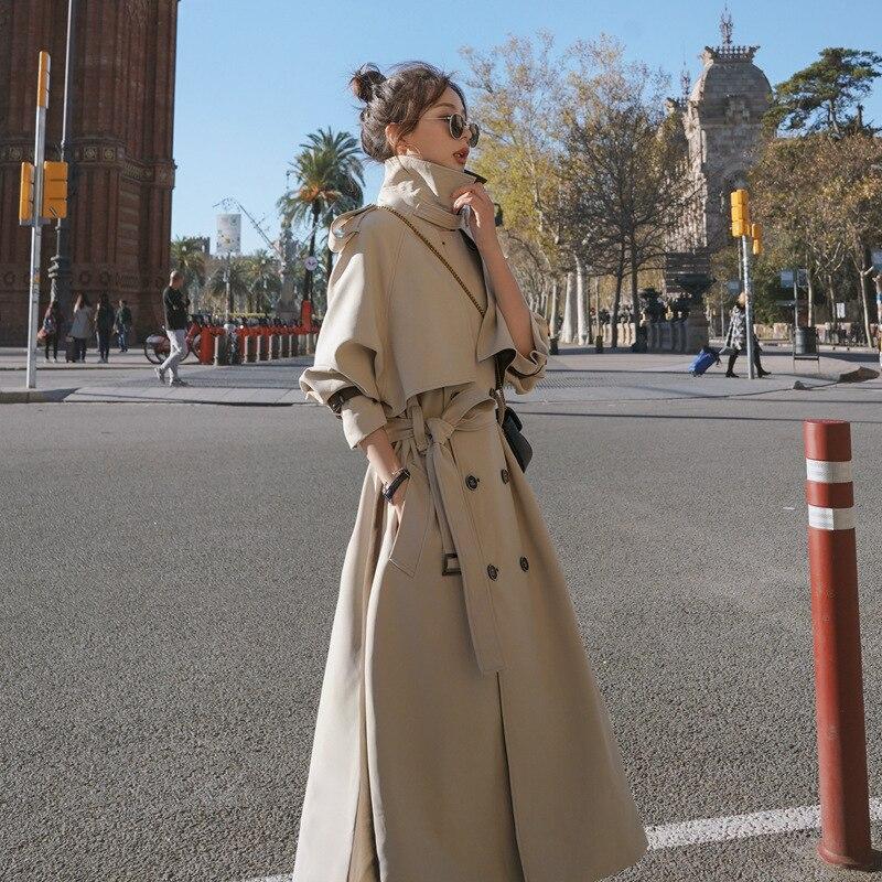 معطف مقاوم للرياح مع حزام للنساء ، معطف مشمش طويل ، لصق ملون ، مقاس كبير ، معطف أنيق