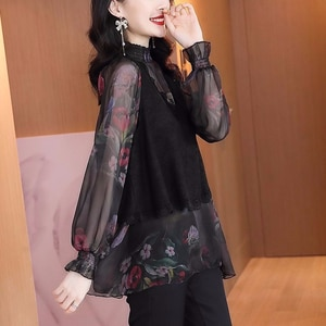 Chiffon shirt women's 2021 spring and autumn new loose casual floral long-sleeved tops fashion western style
