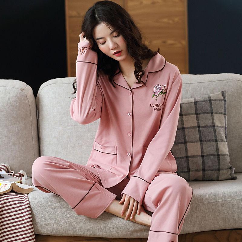 AliExpress - Spring and autumn women's pajamas set 100% cotton long-sleeved cardigan home soft and comfortable pajamas